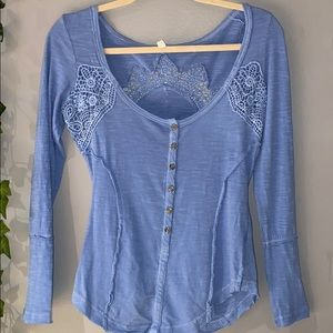 Woman's Free People Blue Button Up Blouse XS